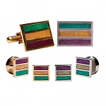 MARDI GRAS EPOXY RECTANGLE CUFF LINK & STUD SET - PAINTED