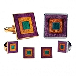 MARDI GRAS EPOXY SQUARE CUFF LINK & STUD SET - PAINTED