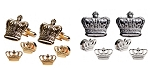 MARDI GRAS CROWN CUFF LINK & STUD SET - SOLID