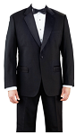 KYLE THOMAS BLACK POLYESTER NOTCH LAPEL TUXEDO JACKET - MEN'S