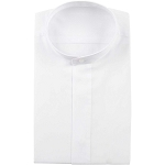 KYLE THOMAS WHITE BANDED COLLAR DRESS SHIRT - MEN'S CLOSEOUT