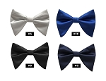 BRAND Q LONG SATIN BOW TIE & POCKET SQUARE / HANKIE SET - ASSORTED COLORS