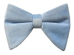 POWDER BLUE BRAND Q LONG VELVET BOW TIE & POCKET SQUARE / HANKIE SET