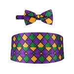 MARDI GRAS WINDOW PANE CUMMERBUND & BOW TIE SET