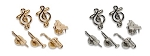 TREBLE CLEF CUFF LINKS AND MUSICAL INSTRUMENTS STUD SET