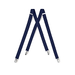 """LUXURY"" CLIP ON NAVY BLUE SUSPENDERS"