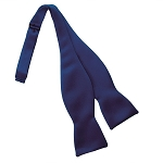 NAVY BLUE LUXURY SATIN TIE TO TIE SELF BOW TIE