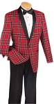 """OXFORD"" SHAWL MEN'S RED PLAID TUXEDO"