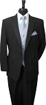 NEIL ALLYN POLYESTER NOTCH MEN'S BLACK TUXEDO PACKAGE w / BRAND Q SATIN VEST