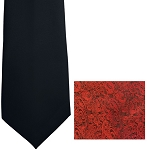 """IMPERIAL PAISLEY"" RED LONG TIE"