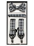 BRAND Q CONVERTIBLE SUSPENDER BOW TIE AND POCKET SQUARE / HANKIE SET - BLACK/WHITE PLAID