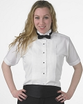 SEGAL WOMEN'S WHITE SHORT SLEEVE WING COLLAR TUXEDO SHIRT