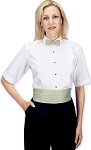 SHORT SLEEVE WHITE LAYDOWN WOMEN'S TUXEDO SHIRT