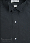 CLASSIX BLACK MICROFIBER NO PLEAT WING COLLAR SHIRT - MEN'S