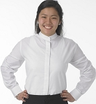 LADY ROBERTO WHITE BANDED COLLAR DRESS SHIRT - WOMEN'S