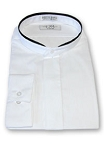 DEVIN MICHAELS WHITE BANDED COLLAR FLY FRONT SHIRT W/ BLACK TRIM - MEN'S