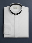 NEIL ALLYN WHITE BANDED COLLAR TUXEDO SHIRT w/ BLACK NECK BAND - MEN'S