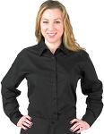 LADY ROBERTO BLACK LONG SLEEVE DRESS SHIRT - WOMEN'S