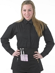 LADY ROBERTO BLACK FLY FRONT CAFE SHIRT - WOMEN'S