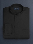 NEIL ALLYN BLACK BANDED COLLAR DRESS SHIRT - MEN'S