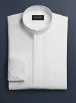 NEIL ALLYN WHITE BANDED COLLAR DRESS SHIRT - MEN'S