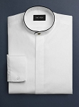 NEIL ALLYN WHITE BANDED COLLAR DRESS SHIRT W/ BLACK TRIM - MEN'S
