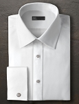 IKE BEHAR WHITE COTTON FAILLE LAY DOWN COLLAR TUXEDO SHIRT - MEN'S