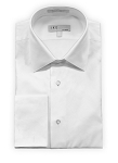 IKE BEHAR WHITE COTTON DIAMOND PIQUE LAY DOWN COLLAR TUXEDO SHIRT - MEN'S