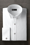 IKE BEHAR WHITE COTTON DIAMOND PIQUE WING COLLAR TUXEDO SHIRT - MEN'S