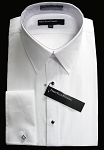 PERRY ELLIS WHITE COTTON NO PLEAT LAY DOWN COLLAR TUXEDO SHIRT - MEN'S CLOSEOUT