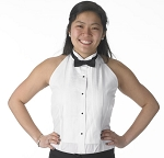 HALTER TOP WHITE WINGTIP WOMEN'S TUXEDO SHIRT