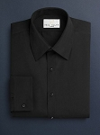 NEIL ALLYN BLACK MICROFIBER NO PLEAT LAY DOWN TUXEDO SHIRT - MEN'S CLOSEOUT