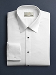NEIL ALLYN WHITE MICROFIBER NO PLEAT LAY DOWN TUXEDO SHIRT - MEN'S