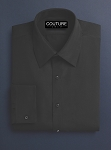 COUTURE 1910 BLACK MICROFIBER NO PLEAT LAY DOWN COLLAR TUXEDO SHIRT - MEN'S