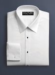 COUTURE 1910 WHITE MICROFIBER NO PLEAT LAY DOWN TUXEDO SHIRT - MEN'S