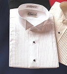 CLASSIX WHITE PLEATED WING COLLAR TUXEDO SHIRT - CLOSEOUT