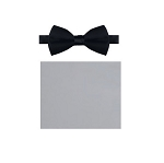 """Q SATINS"" SILVER BOW TIE"