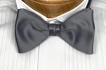 IKE BEHAR SILVER ELITE SATIN BOW TIE
