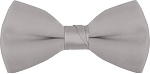 """SEGAL SATIN"" CLIP-ON SILVER BOW TIE"