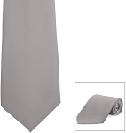 SILVER GREY POLY SATIN LONG TIE