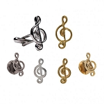 TREBLE CLEF MUSIC CUFF LINK AND STUD SET