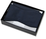 NAVY TEXTURED SATIN SELF BOW TIE & HANKIE SET
