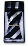 SILVER & BLACK BAR STRIPE SILK SELF BOW TIE & POCKET SQUARE / HANKIE SET