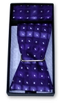 ABSTRACT PURPLE SILK SELF BOW TIE & HANKIE SET