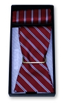 """NARROW STRIPE"" SELF TIE RED BOW TIE SET"