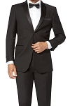 SLIM FIT S140'S NOTCH MEN'S BLACK TUXEDO