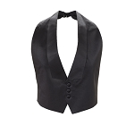 BLACK LUXURY SATIN LOW CUT BACKLESS LAPELED VEST