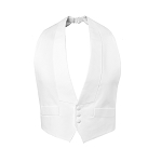 """DELUXE"" BACKLESS WHITE PIQUE TUXEDO VEST w/ REAL POCKETS"