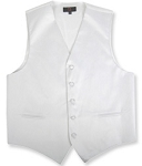 BRAND Q SATIN VEST SET (VEST, LONG TIE, HANKIE) - WHITE