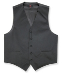BRAND Q SATIN VEST SET (VEST, LONG TIE, HANKIE) - BLACK